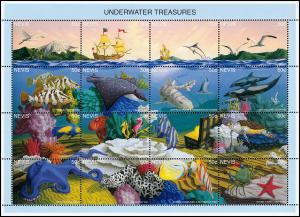 Nevis 964-979 Meerestiere UNDERWATER TREASURES ZD-Kleinbogen 1995, **