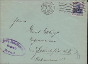 Zensur Belgien 4 Gemania mit Aufdruck auf Brief BRÜSSEL 10.3.1916 nach Frankfurt