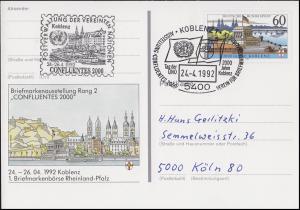 PSo 26 Börse Koblenz, SSt 2000 Jahre Koblenz Tag der UNO 24.4.1992 & UNO-Stempel