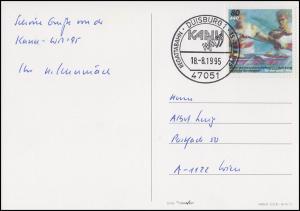1777 Kanu-WM, EF AK Kanu-WM Luftbild & Flaggen SSt Duisburg 18.8.1995 nach Wien