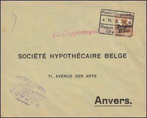 Zensur Postprüfungsstelle 14.9.16 Etappen-Inspektion Gent Bf. 15 als EF n. Avers