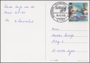 1777 Kanu-WM EF AK Kanu-WM Luftbild Flaggen SSt Duisburg 18.8.1995 nach Schweden