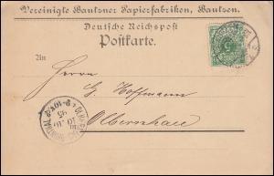 46 Ziffer 5 Pf. als EF auf Postkarte Bautzner Ppierfabriken BAUTZEN 9.10.1895