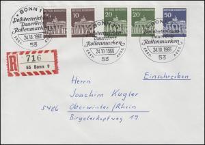 506+507+509 Brandenburger Tor MiF auf R-FDC ESSt BONN Erstausgabe 24.10.1966