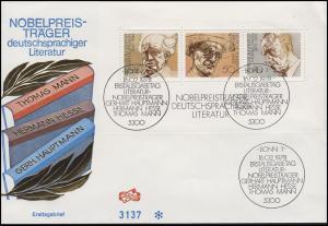 Block 16 Nobelpreisträger für Literatur - auf Schmuck-FDC ESSt Bonn 16.2.1978