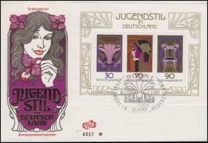 Block 14 Jugendstil 1977 - auf FIDACOS-Schmuck-FDC ESSt BONN 16.2.1977