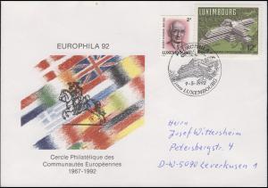 Luxemburg: Europabank, Schmuck-Brief SSt EUROPHILA Postreiter Luxembourg 9.5.92