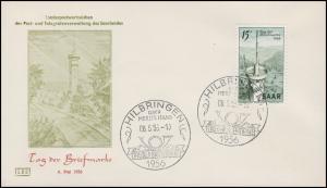 369 Tag der Briefmarke auf Schmuck-FDC ESSt HILBRINGEN über Merzig T.d.B. 6.5.56