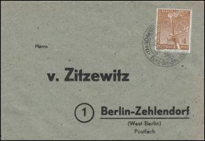 88 Vorolympische Festtage 4 Pf. EF Brief SSt. SCHWARZENBACH Döbraberg 25.10.52