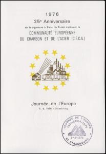 Frankreich Europatag 1976 Klappkarte mit 1918 & Bund 880, SSt Strasbourg / Bonn