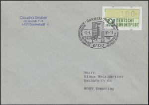 1.1.hu ATM Grün 100 Pf ohne Stern und ohne DBP als EF Brief SSt DARMSTADT 2.1.91