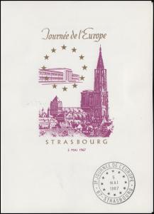 Frankreich Europatag 1967 Klappkarte mit 1556+2578 SSt Strasbourg 4.5.67 +5.5.67