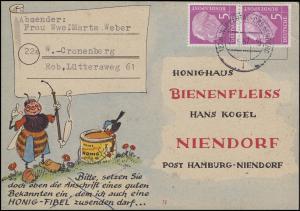 179x Heuss 5 Pf. MeF Honighaus Bienenfleiß Niendorf WUPPERTAL-CRONENBERG 26.6.57
