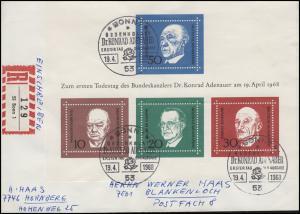 Block 4 Konrad Adenauer auf R-FDC ESSt Bonn 19.4.1968 nach Hornberg