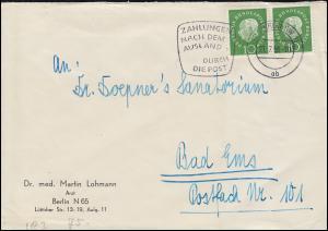 183 Heuss im Paar als MeF auf Brief BERLIN SW 11 - 21.7.59 nach Bad Ems