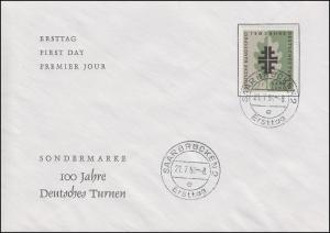 437 Turnbewegung - Turnerkreuz 1958 auf Schmuck-FDC Saarbrücken Ersttag 21.7.58
