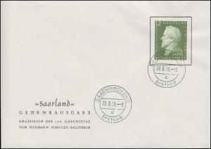 438 Schulze-Delitzsch 1958 auf Schmuck-FDC Saarbrücken Ersttag 29.8.58