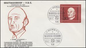 556 Robert Schuman aus Block 4, EF aufSchmuck-FDC ESSt BONN 19.4.1968
