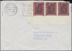 365 Ausstellung Brief 3x 7 Pf. ER-3er-Streifen MeF auf Brief HANNOVER 22.10.61