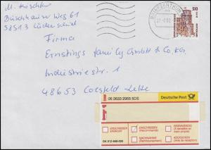 2225 SWK Heidelberger Schloss 510 Pf. / 2,14 Euro EF R-Brief BZ 58 - 27.6.2002