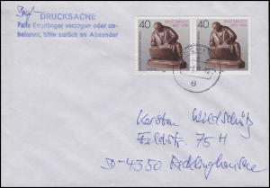 823 Barlach 2x 40 Pf Paar MeF Briefdrucksache MÜNCHEN 18.2.91 n. Recklinghausen