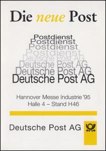 1724 Europa-Wahl 1994 in Klappkarte Die neue Post SSt HANNOVER MESSE 3.4.1995