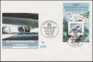 Block 23 Bobsport-WM Altenberg 1991 auf FIDACOS-Schmuck-FDC ESSt BERLIN 8.1.91