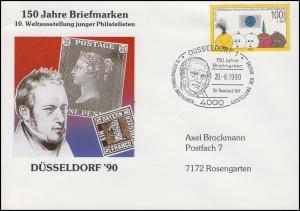 1472 Jugendausstellung als EF Vor-Ersttag SSt DÜSSELDORF Rowland Hill 20.6.1990