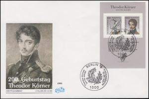 Block 25 Theodor Körner 1991 - auf FIDACOS-Schmuck-FDC ESSt BERLIN 12.9.91