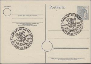 P 962 Arbeiter 12 Pf. SSt HEIDELBERG 2. Briefmarkenhändlertag 19.12.1947