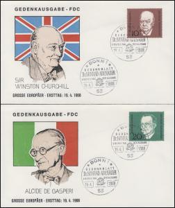 554-557 Einzelmarken aus Block 4 Adenauer - 4 Marken auf Schmuck-FDC ESSt Bonn
