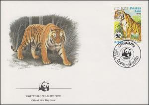 Laos WWF: Indischer Tiger 1984, 2 Werte auf 2 Schmuck-FDC 1984