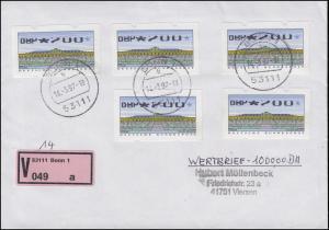ATM 2.2.1X Sanssouci 5mal 200 Pf mit Teildruck auf Wert-Brief Bonn 14.3.97