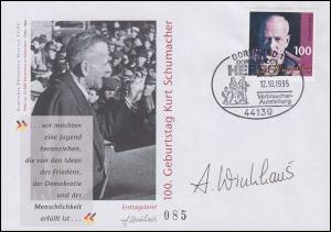 1824 Kurt Schumacher Schmuck-FDC ESSt Dortmund 1995 mit Entwerfer-Unterschrift