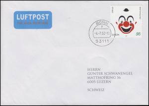 2272 Europa Clown selbstklebend als EF auf FDC ET-O BONN 4.7.02 in die Schweiz