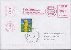 2113 Europa mit 2x Absenderfreistempel auf FDC ESSt BONN + ET-O Krefeld 12.5.00