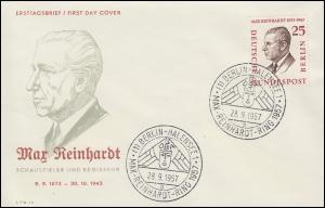 169 Max Reinhardt 25 Pf. auf Schmuck-FDC ESSt BERLIN-HALENSEE Portrait 28.9.1957