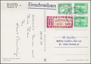 1868+1947 Kleine Bauten mit Einschreibemarke R-AK Weihnachten ROSTOCK 18.12.77