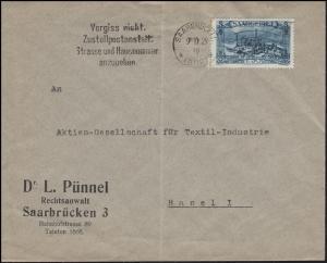 118 Burbacher Hütte 1,50 Fr. EF auf Brief SAARBRÜCKEN 9.10.29 nach Basel/Schweiz