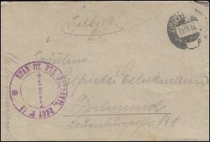 Feldpost Stab III. Res.-Btl. Artillerie-Reg. 18 FELDPOST 13.10.18 nach Dortmund