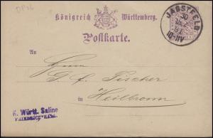 Dienstpostkarte DP 26 Ziffer 5 Pf. lila ohne DV, JAGSTFELD 30.13.91 n. Heilbronn
