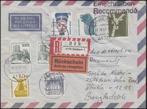 Bund-Berlin-MiF BuS / SWK / IuT auf R-Brief mit Rückschein GELDERN 9.8.91