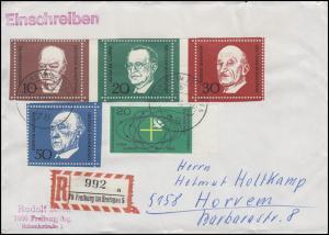 554-557 Adenauer, Churchill, De Gasperi, Schuman aus Bl.4 R-Bf. FREIBURG 14.9.68