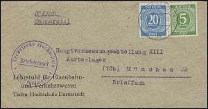 915+924 Ziffern MiF Technische Hochschule Eisenbahn DARMSTADT 7.5.47 n. München