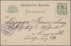 Postkarte P 50/01 mit DV: 00 an die Leipziger Bienenzeitung LEIPZIG 4.11.00
