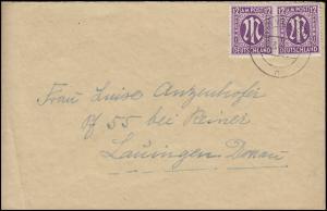 AM-Post 12 Pf. Paar MeF Fern-Brief von VIERSEN 16.3.46 nach Lauingen/Donau