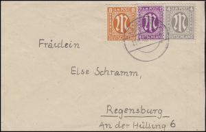 AM-Post 4+8+12 Pf. MiF Fern-Brief von HAGELSTADT 15.3.46 nach Regensburg