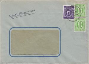 AM-Post 2x 5 Pf. mit Gemeinschaft 916 Ziffer 6 Pf. Fensterbrief STUTTGART 5.3.46