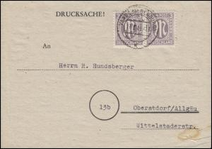 AM-Post 2x 3 Pf. Paar MeF Drucksache VAREL (OLDENBURG) 17.5.46 nach Oberstdorf