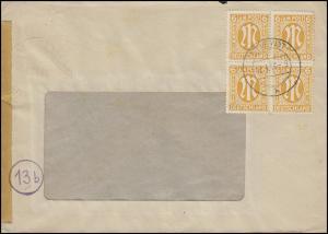 AM-Post 4x 6 Pf. Viererblock MeF Fensterbrief RHEYDT 13.3.46
